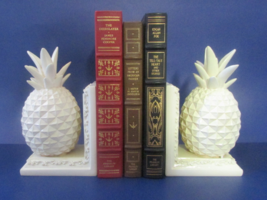 Two's Company Pineapple Heavy Painted Cream Set of 2 Bookends w/ Scroll ... - £28.65 GBP