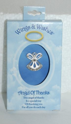 DM Merchandising Wings Wishes Angel Thanks Silver Colored Clear Rhinestones