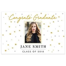 Gold White Class of 2018 Graduation Banner Personalized Backdrop - £12.38 GBP