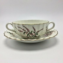 Dunrobin by Sone China Royal Worcester - Footed Cream Soup Bowl & Saucer... - $34.95