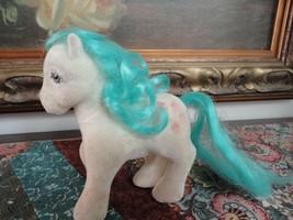 Vintage My Little Pony Fuzzy Felt Horse Cupcakes on Rear w Teal Blue Man... - $59.95