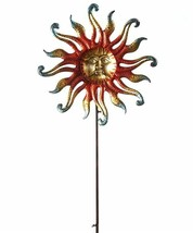 "63"" Iron Celestial Sun Design Wind Spinner Double Pronged Garden Stake"