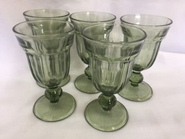 """5 Pressed Green Glass Goblets 6 12"""" tall - $49.99"""