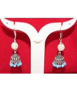 Turquoise-Pearl  Antique  Vintage Look  Tibetan Silver Earring G-312-12 - $5.86