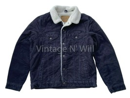 GAP Jeans Mens Navy Blue Corduroy Denim Sherpa Quilted Sleeve Trucker Ja... - $85.49