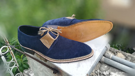 Handmade Men's Blue Suede White Stitching Dress/Formal Shoes image 1