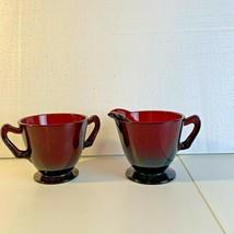 Anchor Hocking Royal Ruby Red Glass Sugar And Cream Set - $22.99