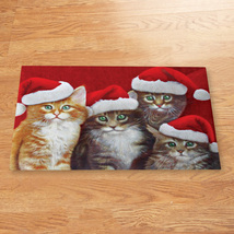 Santa Cats Christmas Decoration Rubber Accent Mat - ₨578.15 INR