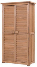 Garden Shed Wooden Lockers Solid Fir Wood Storing Tool Accessories Outdoor - $275.90