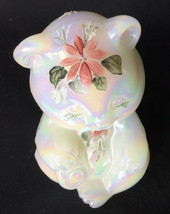 Fenton Glass White Opalescent Sitting Bear Hand Painted Iced Poinsettia ... - $24.75