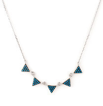 925 Sterling Silver Black & Turquoise Triangle Pendant - $48.00