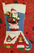 Rare Christmas Stocking 1979  Bucilla Santa Doll FINISHED COMPLETED Jumb... - $269.97