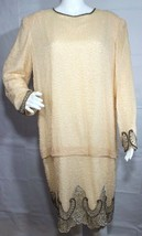 Laurence Kazar New York vintage women's dress beaded evening wear silk s... - $66.22