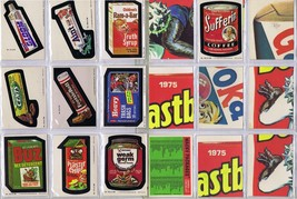 9 pc Topps Wacky Pacs Cards and Stickers 1975 Near Mint+Free Protective ... - $32.71