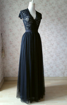 BLACK Long Maxi Tulle Skirt High Waisted Black Tulle Skirt Wedding Skirt image 5