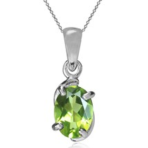 Natural Peridot 925 Sterling Silver Solitaire Pendant w/ 18 Inch Chain Necklace - $25.93