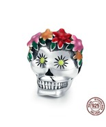 Authentic 925 Sterling Silver Skull Flower Enamel Bead Charms Pandora - $19.96