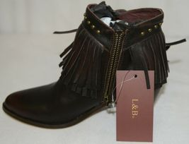 Lucky And Blessed SH 11 Dark Brown Leather Boots Fringe Metal Studs Size 7 image 6
