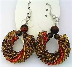 Red Tiger Eye Bead Crochet Rope Earrings - $15.70