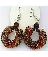 Red tiger eye bead crochet rope earring thumbtall