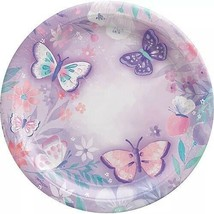 Butterfly Party Lunch Plates ~8PCS~ Purple FLORAL BIRTHDAY Flutter Butte... - $9.85