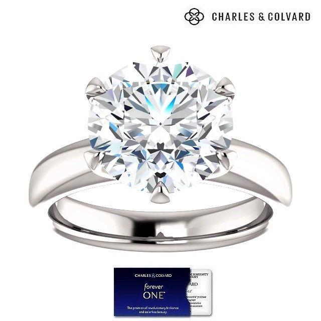 5.00 Carat Moissanite Forever One Solitaire Ring 14K Gold (Charles & Colvard)