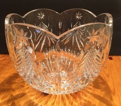 "MIKASA ""HOLIDAY CLASSIC"" CRYSTAL DEEP BOWL MADE IN JAPAN CLEAR GOLD 7"" X... - $34.45"