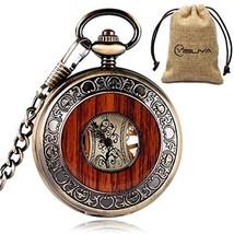 Vintage Bronze Wooden Mechanical Pocket Watch Roman Numerals Creative Carving - $60.48