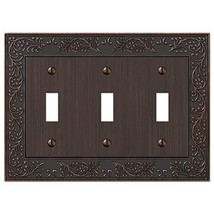 Amerelle English Garden Triple Toggle Cast Metal Wallplate in Aged Bronze - $13.86