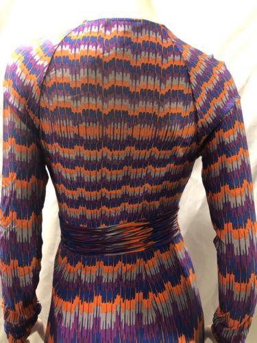 Bcbg Max Azria Sintetico Vestito a Portafoglio XS Arancione Viola Gallone