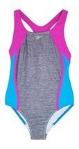 Speedo Big Girls Mesh Splice Thick Strap 1 Piece, Heather Grey/Pink/Blue, 8 - $28.99