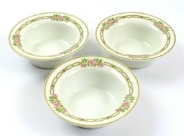 3 Limoges Theodore Haviland Small Flat Bottom Bowls Pink Floral Gold Trim France - $19.79