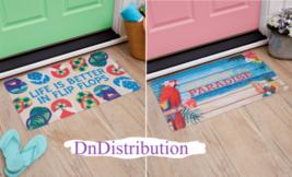 Coastal Beach Themed Doormat Paradise Flip Flops Bright Vivid Colors Sen... - $8.69