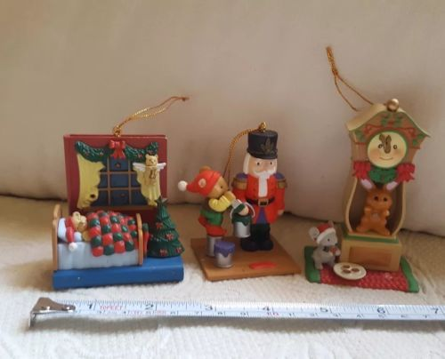 1997-1998 Westmar Christmas Ornaments with defects:  missing parts, still cute