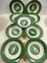 VTG Royal China Colonial Homestead green set of 9 berry bowl dish - $34.65