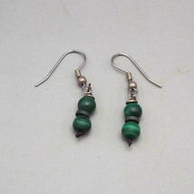 Green Stone Malachite Dangle Earrings Vtg - $14.84