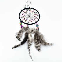 """Handcrafted 11"""" Dreamcatcher Colorful Plastic & Wood Beads w Gray Feathers  image 2"""