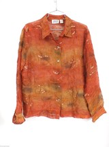 CHICO'S Women's Sheer Silk Chiffon Rust Embroidered Blouse/Over Blouse S... - $29.00
