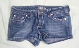 Women's Juniors Size 5 Decree Dark Wash Blue Jean Shorts Bold Stitching ... - $17.81
