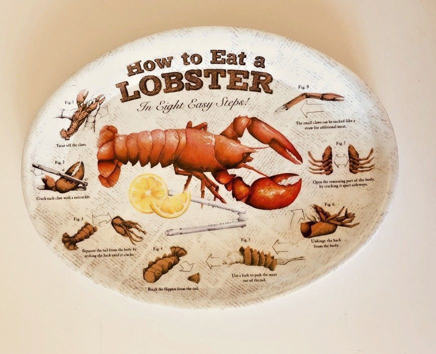 How To Eat a Lobster Melamine Serving Oval Plates Platters Set of 4 New Dishes