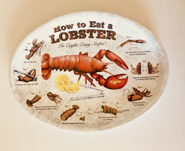 How To Eat a Lobster Melamine Serving Oval Plates Platters Set of 4 New ... - $24.63