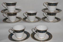 Set (7) Royal Doulton Carlyle Pattern Bone China Cups / Saucers England - $296.99