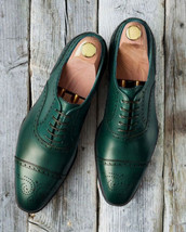 Handmade Men's Green Heart Medallion Dress/Formal Oxford Leather Shoes image 3