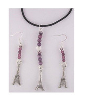 Necklace Earrings 3D Eiffel Tower Charms Brown Silver Beads Black Cord S... - $23.00