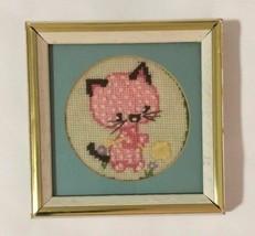 White Wood Frame & Gold Trim 1970s Jiffy Finished Needlepoint Kitty Cat - $29.69