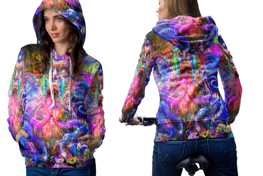 Psychedelic face trippy tongue dmt hoodie women