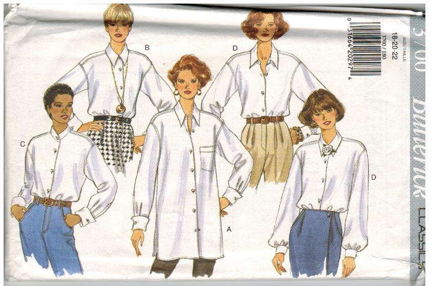 Butterick Classics Uncut Sewing Pattern #3700 Misses Shirt Sizes 18 20 22