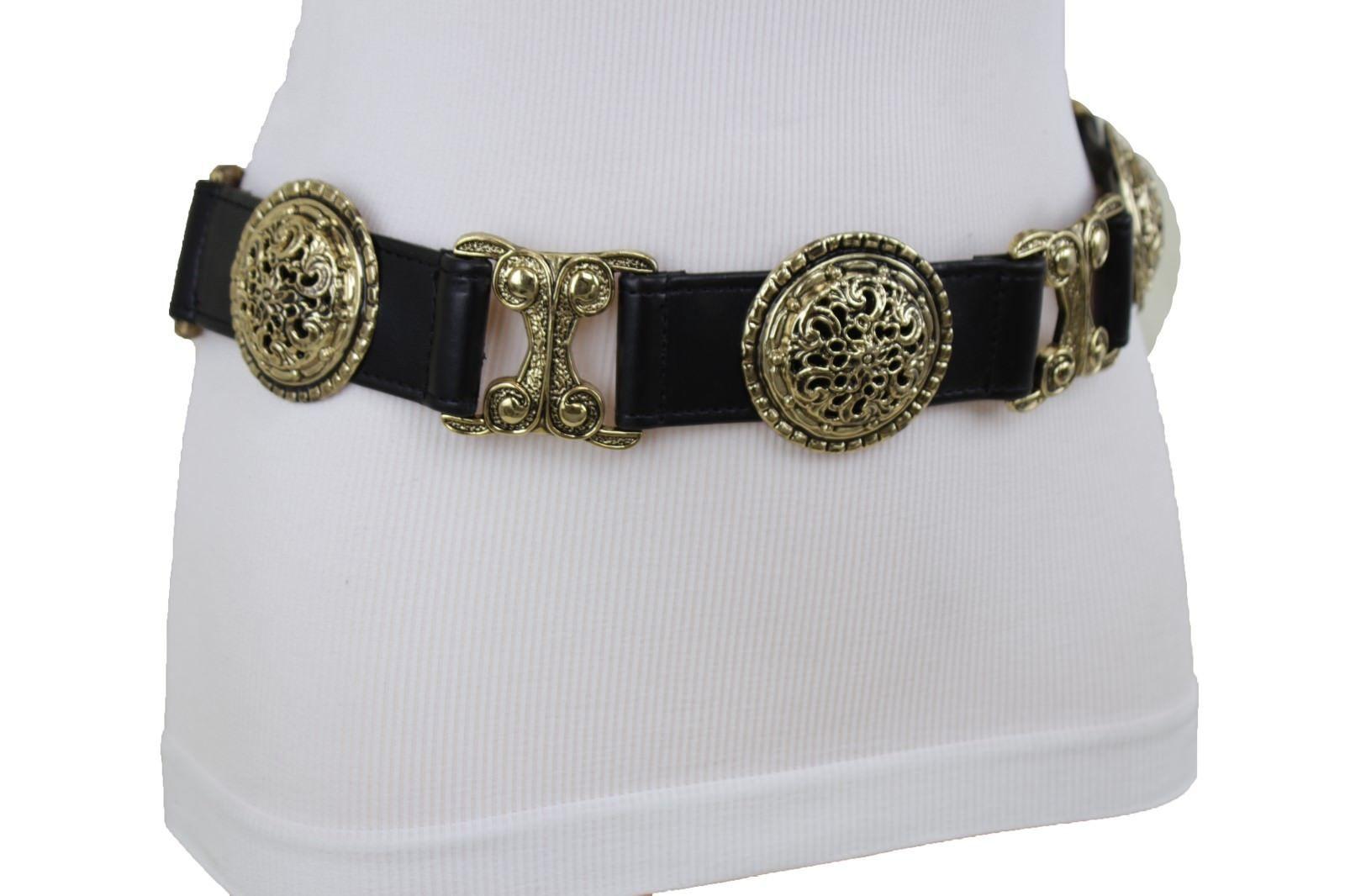 Women Fashion Tie Belt Hip Waist Antique Gold Metal Chain Brown Cross Charm S M