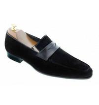 Handmade Men black Suede leather casual shoes Men black suede moccasins slip ons - $164.99