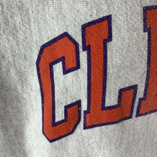 Vintage Champion Reverse Weave Clemson Tigers Crewneck Sweatshirt Heather Gray M image 3